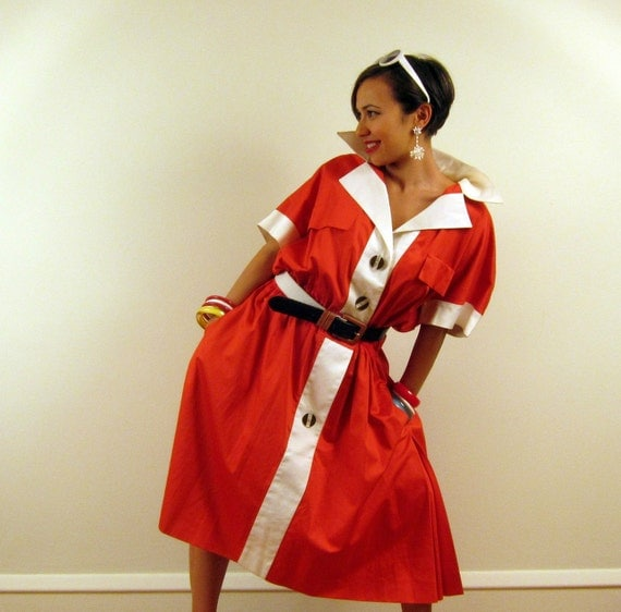 Vintage 1980s Karl Lagerfeld Dress, Shirtwaist Style in Red and White, XL