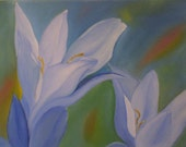 Original Floral Oil Painting Blues by Meaghan Louise