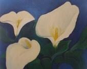 White Arum Lillies Original Oil Painting
