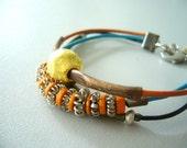 Greek leather, bronze, gold and silver bracelet