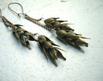 Wheat dangle earrings, brass earrings 3