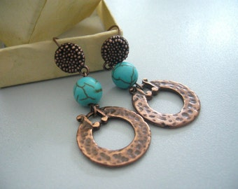 turquoise music earrings