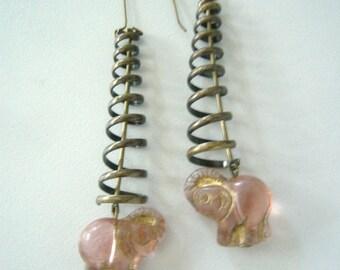 Elephant dangle earrings, animal earrings, swirl earrings