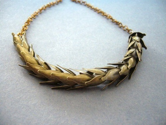 Antique brass wheat necklace