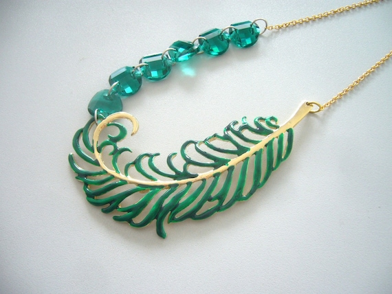 A giant green leaf statement  necklace