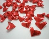 50 Passionate Love -  Fiery Red Origami Lucky Hearts - custom order available