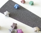 Grey Black - Single Colored Magical Fairy Dust Origami Lucky Star Paper Strips - pack of 20 strips
