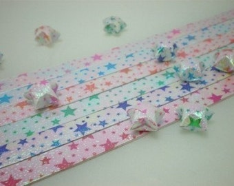 Stars on Stars - Starry Starry Night Pearlescent Origami Lucky Star Paper Strips - pack of 70 strips