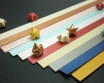 Precious Metal (Part V - Brushed Metal) Origami Lucky Star Paper Strips - pack of 80 strips
