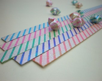 Candy Stripe Origami Lucky Star Paper Strips - flat pack of 80 strips