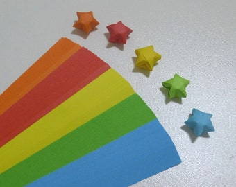 Select Your Color - Rainbow Shower Origami Lucky Star Paper Strips - packs of 100 strips
