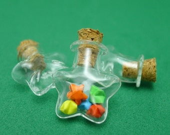 Star Shaped Miniature Glass Bottle with 10 Ultramini Origami Lucky Stars of your choice