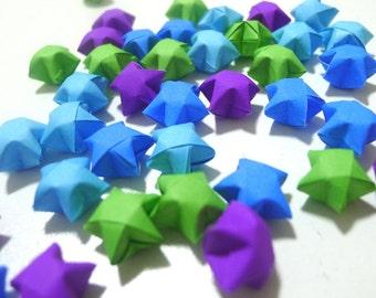 100 Peacock Dance - Blue Purple Green Origami Lucky Stars - custom order available