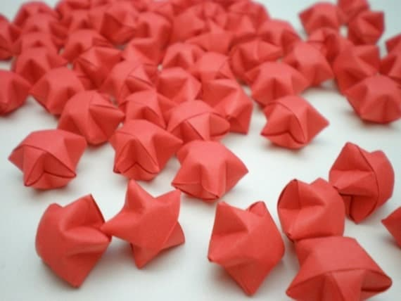 100 Romantic Red Origami Lucky Stars - custom order available