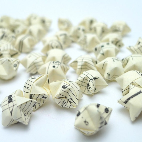 100 Vintage Style Musical Notes Manuscript Origami Lucky Stars - custom order available