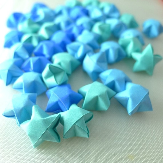 100 Ocean Breeze - Blue Origami Lucky Stars - custom order available