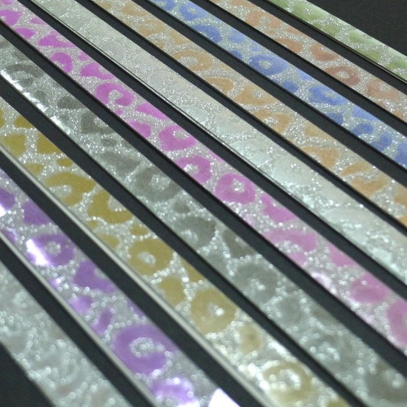 Little Wild Thing - Leopard Print Soft Pastel Glitter Origami Lucky Star Paper Strips - pack of 40 strips
