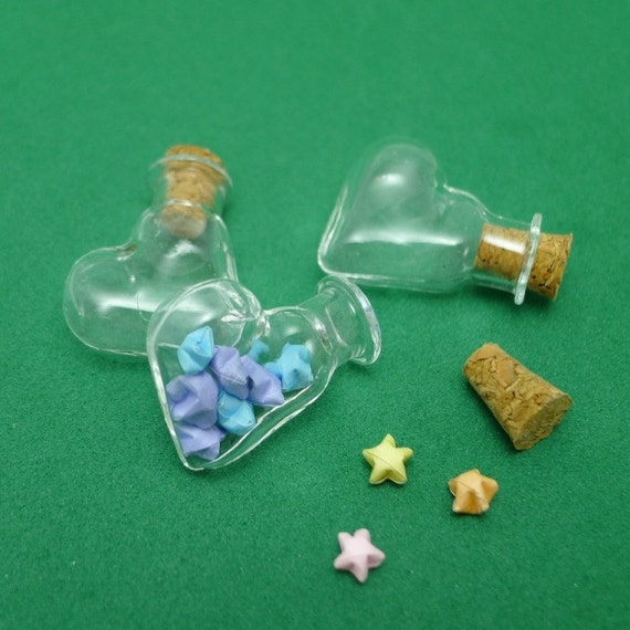 Heart Shaped Miniature Glass Bottle with 10 Ultramini Origami Lucky Stars of your choice