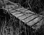 Black and White Photography  Rustic Wooden Bridge 10x8 print. Trip, Trap Over The Bridge...