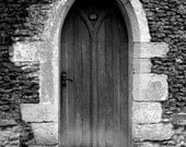 Gothic Door Photograph Black and White Photography 10x8 print. Little Door...