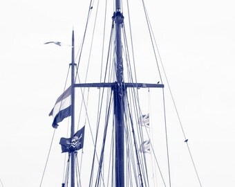 Nautical Ship Photography Summer Blue White Home Decor 10x8 Print Masts...