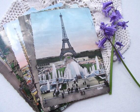 5 Vintage Paris Postcards Color Tinted (lot 2) Eiffel Tower Landmarks Unused