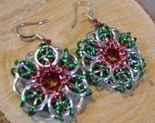 Christmas Holiday Pierced  Earrings Ladies Green and Red