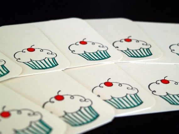 Set of 12 Mini Note Cards - Cherry on Top