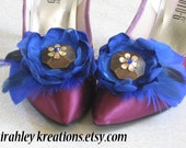 BOHEMIAN BLUE -- Gorgeous Cobalt Royal Sapphire Blue Flower and Feather Shoe Clips, perfect Something Blue for a Boho Brides Wedding Day