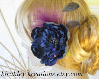 ANNAMAE -- Dark Navy Sapphire Blue Bridal Peony w/ Fuchsia Feather & Beaded Cluster Center Wedding Flower Bride Hairpiece Fascinator Clip