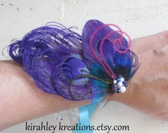 Purple Peacock Feather Wristlet Corsage Prom Wedding Bride Bridesmaid Cuff IRIDESSA Bracelet Fuchsia Teal Beaded Cluster Ribbon Ties
