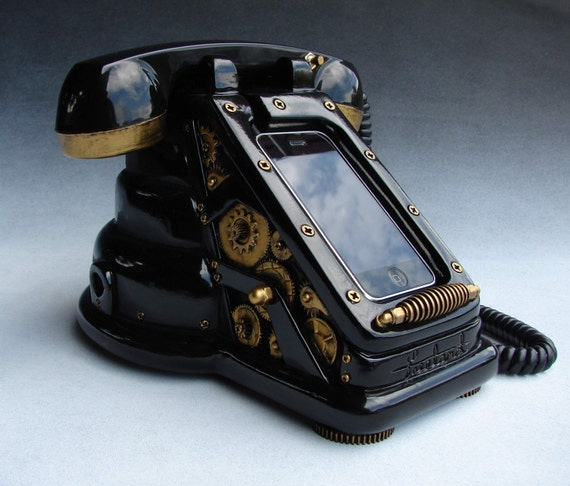 iRetrofone Steampunk - Black/Gold - iPhone dock