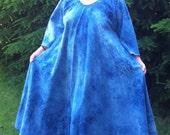 summer weight shibori denim bias goddess dress RESERVED