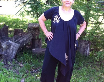 black cotton jersey knit shibori dyed tunic