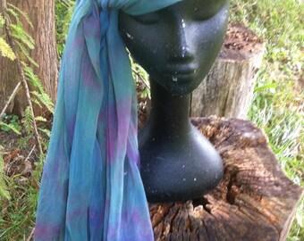 shibori dyed silk gauze scarf