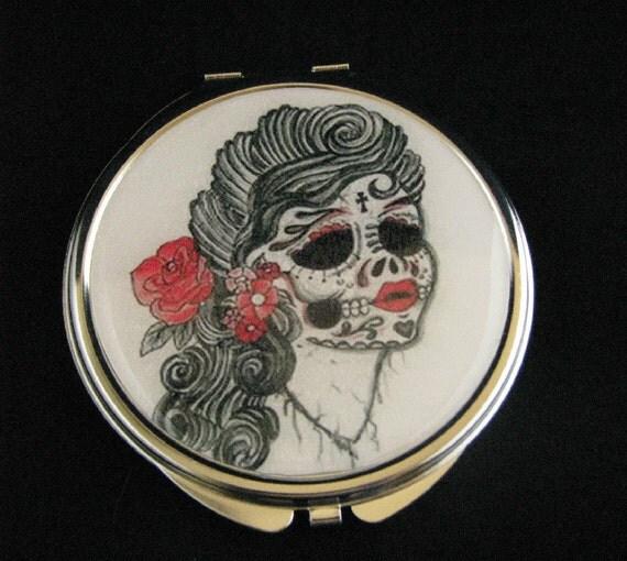 Day of the Dead Dia de los Muertos Pin Up Girl Compact Pocket Mirror