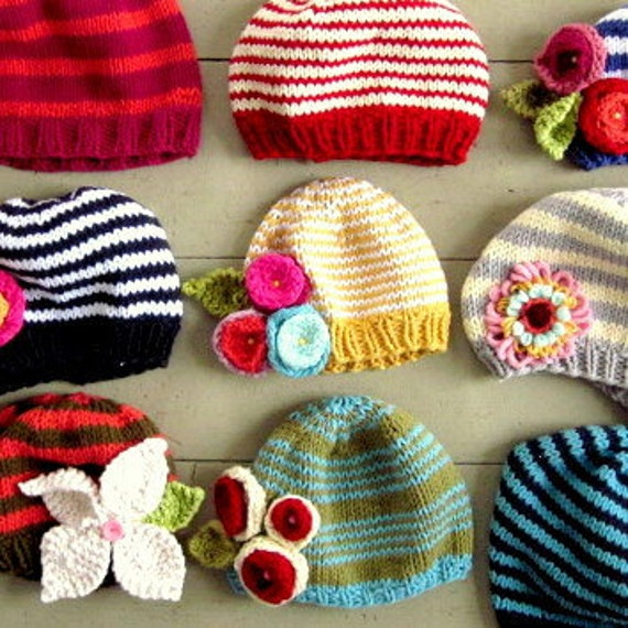 KNITTING PATTERN, PDF Make your own Sweet Baby Dolly hat with flowers and leaves
