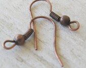 Red Copper French Hook Earwires, Nickel Free, 50 Pair (100 pieces)