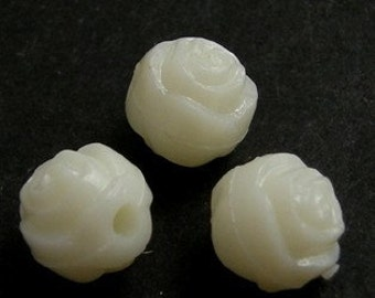 Small Ivory White Acrylic Rose Bead, 6mm Diameter, FORTY