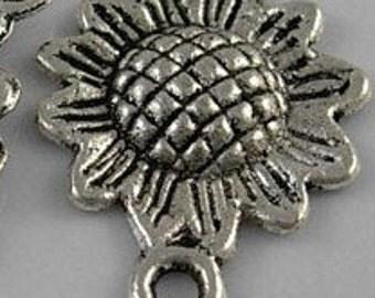 Tibetan Style, Antique Silver, Sunflower Pendant Charms (TWENTY)