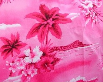 Pink Hawaiian Scene Cotton Fabric