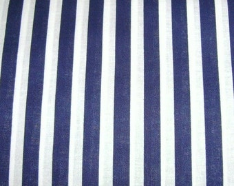 Navy and white stripe cotton fabric
