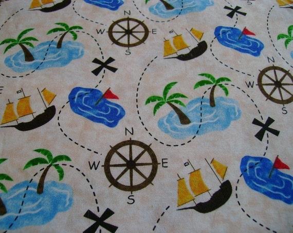 Children 39 s pirates treasure map cotton by thislilstashofmine for Kids pirate fabric