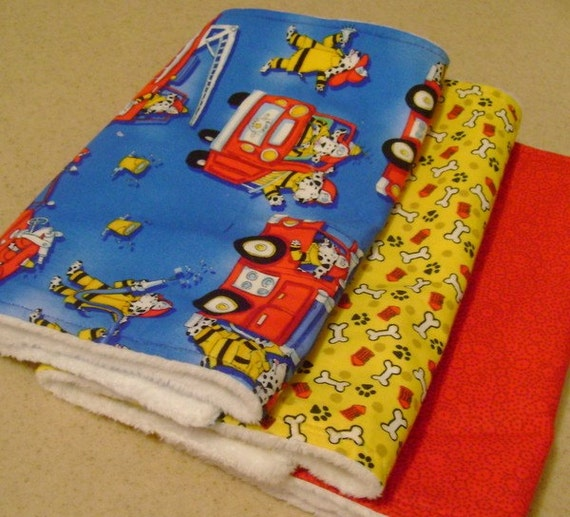 Set of 3 Firefighter Dalmations Burp Cloth Set