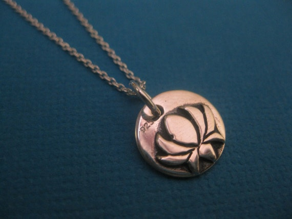 LOTUS flower Sterling silver charm with tribal turtle on the otherside