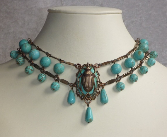 Egyptian Style Scarab Choker Turquoise Magnesite and Antique Brass