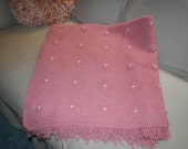 VINTAGE ROSE PINK KNITTED AFGHAN WITH ROSETTE BEAD ACCENTS
