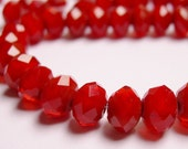 Crystal faceted rondelle 30 pcs 7.5mm by 5mm AA quality mat ruby red