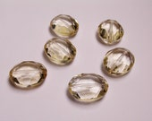 Crystal faceted focal beads oval 6 pcs 24mm by 19mm  AA quality light citrine