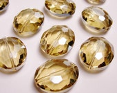 Crystal faceted focal beads oval 6 pcs 24mm by 19mm  AA quality light topaz